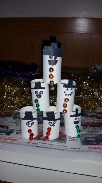 toilet paper roll crafts, snowmen