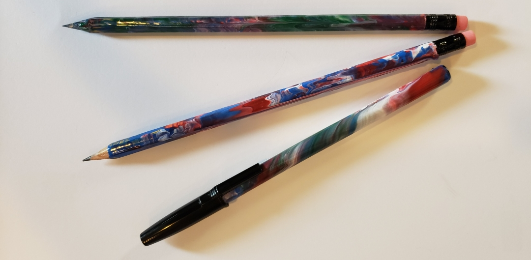 marbleized pencils